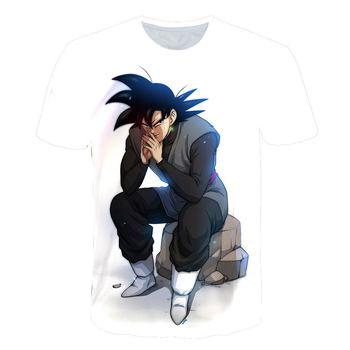 Camisetas de Dragon Ball Z para hombre de verano a la moda con estampado 3D de Super Saiyan Son Goku blanco Zamasu Vegeta Dragonball camiseta Tops camiseta 5XL