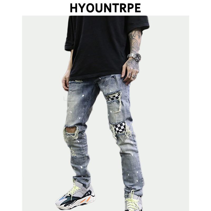 High Street Fashion Destroyed Jeans Mens Knee Hole Patchwork Plaid Ripped Slim Biker Jeans New Hip Hop Zipper Pants Joggers