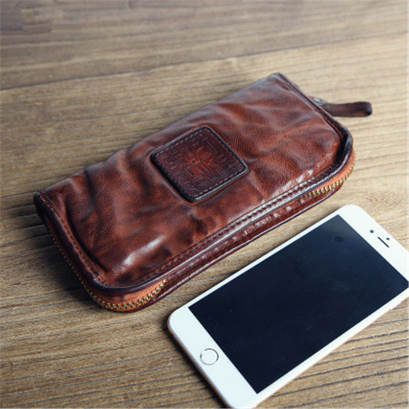 ALAVCHNV original handmade retro men s first layer of leather long large capacity wallet leather zipper