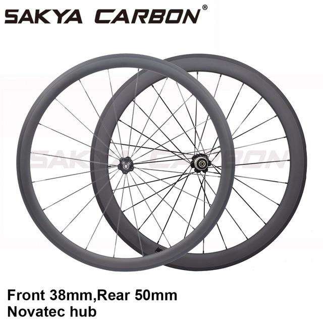 US $276 56 25% OFF front 38mm rear 50mm road bike carbon wheels Novatec hub  clincher carbon wheels tubular carbon wheels tubeless carbon wheels-in