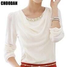 Elegant Pearl Beading Blouse Shirt Chiffon Blouse Long Sleeve 2018 Spring  Autumn Fitness Women Tops Plus Size Female Clothes 6xl e8a4939ff77d