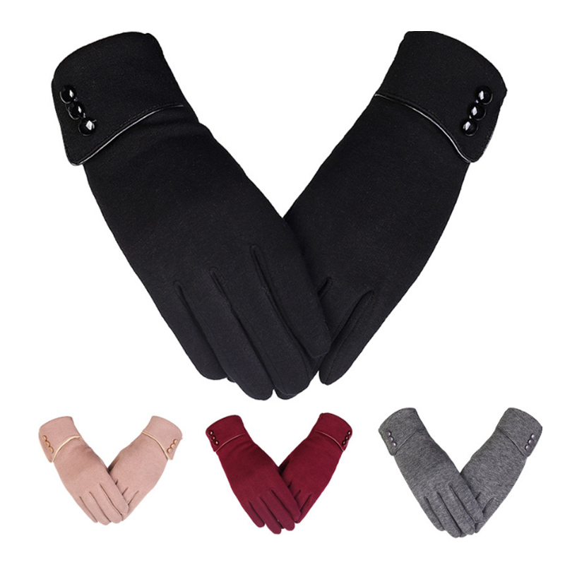 Women Smart Phone Touchscreen Gloves Warm Lined Thick Button Decor Ladies Girl Fur Fleece Keep Warmer Gloves