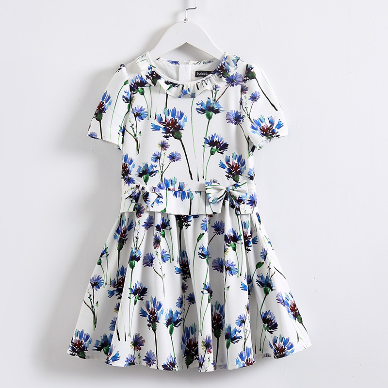Summer Kids girls 100-160cm fashion Clothing children party short sleeve floral print girl dress teenager infant pleated dresses high quality newest 2018 designer fashion runway dress women s short sleeve v neck gorgeous print pleated midi dress