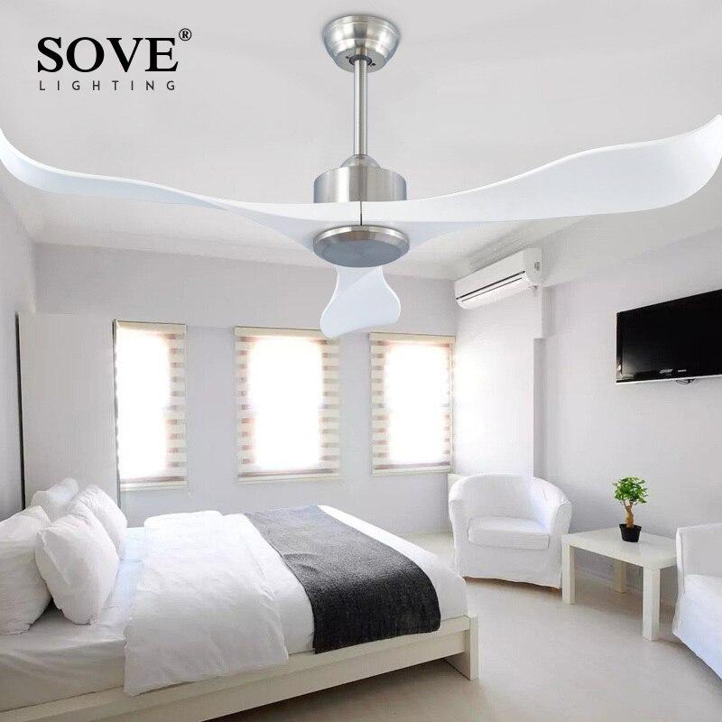 Sove современный Потолочные вентиляторы без света Дистанционное управление белый Пластик лезвие Спальня 220 В потолочный вентилятор Декор ...