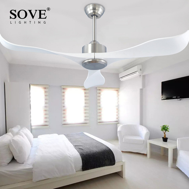Sove Modern Ceiling Fans Without Light Remote Control White Plastic Blade Bedroom 220v Fan Decor