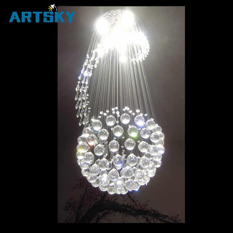Современный спиральный светодиодный потолочный светильник с кристаллами Большая лестница крытые люстры заподлицо длинные лестничные светильники гостиничные осветительные приборы