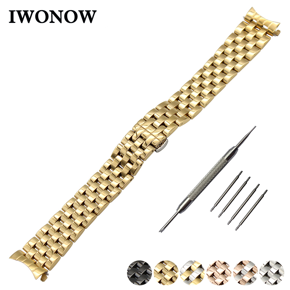 Stainless Steel Watch Band 18mm 20mm 22mm 24mm for Hamilton Curved End Strap Butterfly Buckle Wrist Belt Bracelet + Spring Bar curved end stainless steel watch band for breitling iwc tag heuer butterfly buckle strap wrist belt bracelet 18mm 20mm 22mm 24mm