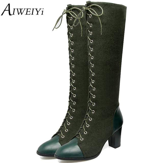 03931604e450 AIWEIYi 2018 Women Knee High Boots Lace Up Sexy Square High Heels Autumn  Winter Fur Women Boots Motorcycle Boots Botas Mujer