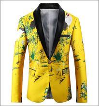 Yellow Blazer Men 2018 Slim Fit Floral Вышивка Blazer Jacket Shawl Collar Повседневный костюм Mens Prom Blazers