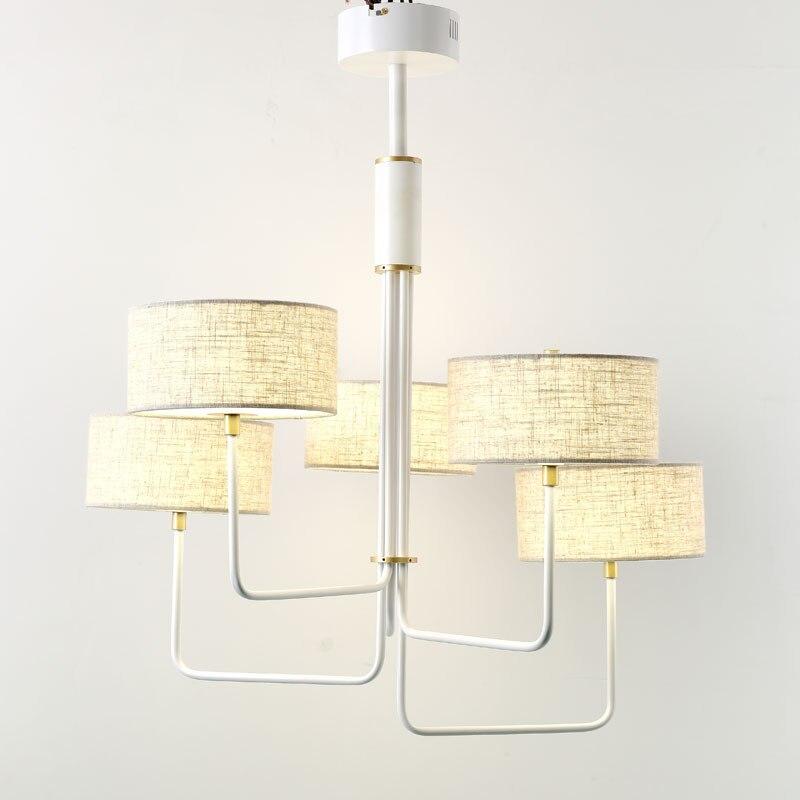 Modern Led Chandelier Lighting White Design Fabric Lamp Lustre Living Room Kitchen Foyer Loft Decor Home Light Fixtures 220V