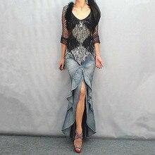 Fashion shuimo double layer ruffle denim dovetail full dress slim denim fish tail bust skirt pleated knot ruffle hem strap denim dress