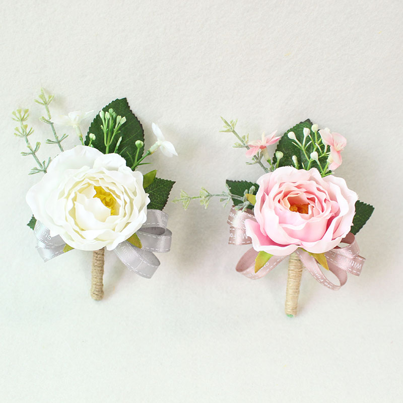 white pink roses Wedding Marriage Rose Wrist Corsage boutonnieres  (35)