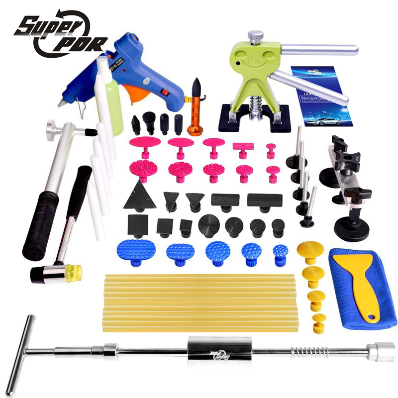 Super PDR tools Paintless Dent Removal for Car repair tools kit glue gun T type dent puller pulling bridge glue tabs hand tools super pdr car dent repair tools pulling bridge glue puller glue gun dent tabs hand tool set 39pcs dent removal tools kit