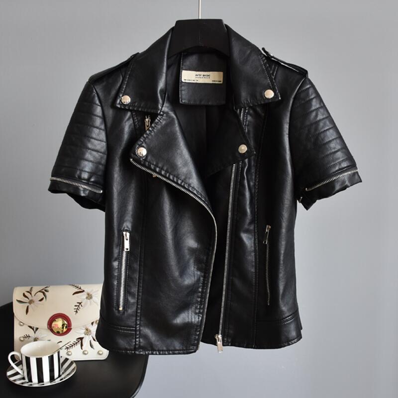 Abbigliamento Sportiva 2019 Della Pelle In Nera Cappotto Sottile Moto Donne Giacca Autunno Femminile Borgogna Nero PukXZiO