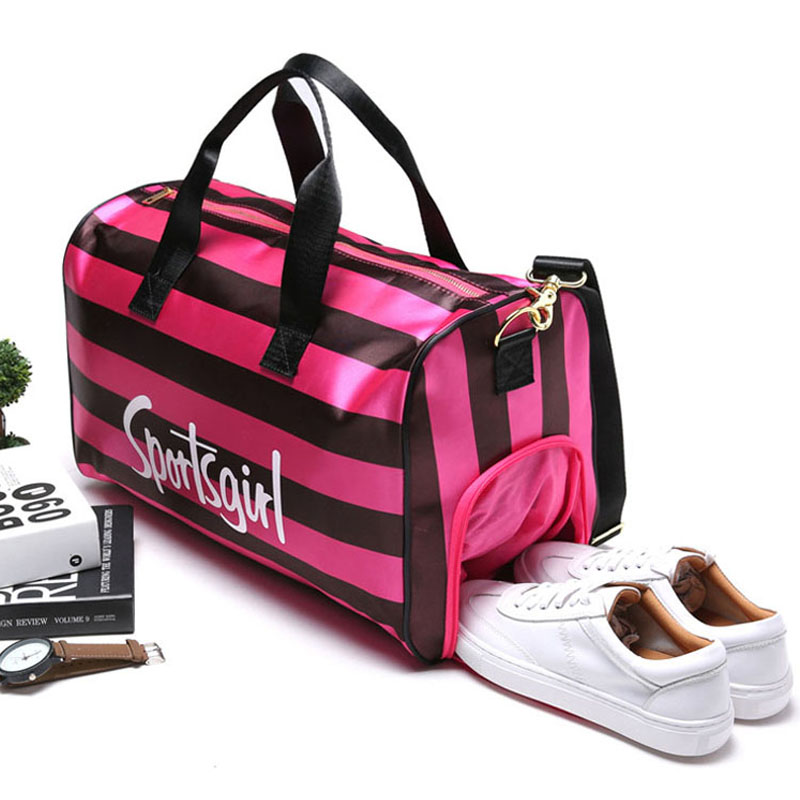 2018 Nylon Gym Sport Bag PINK Embroidery Letters Women Fitness Yoga Duffle Handbag Outdoor Sporting Tote For Female Sac De Sport