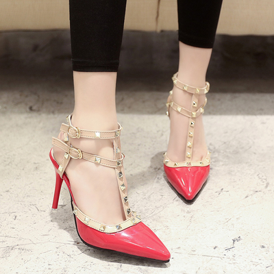 2017 spring new Europe and the United States with two rivet pointed high heels fine with hollow strap sandals female summer wedd
