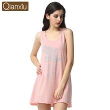 2016 Casual Female Homewear Summer Cotton Floral Printed Sleepwear Girls Leisure Sleeveless Lounge Sleepshirt For Free