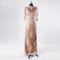 RSE713 Long Sleeved Muslim Evening Dresses Mother Of The Bride Brown Dress
