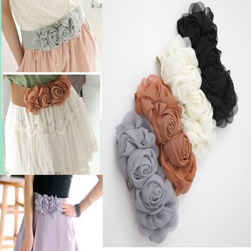 Double Flower Cummerbund Female Chiffon Elastic Belt Decoration Wide Belt All-match Rose
