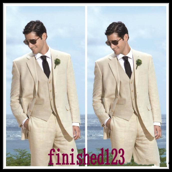 Fashion Style Two Button Beige Groom Tuxedos Groomsmen Men\'s Wedding ...