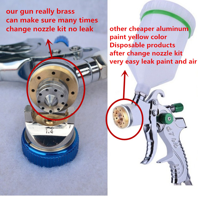 Image 2 - 601 spray gun  HVLP SPRAY GUN gravity feed stainless steel  nozzle 1.4mm 1.7mm 2.0mm auto Car face Paint spray gun-in Spray Guns from Tools on