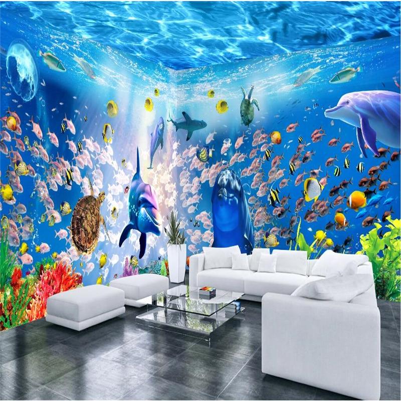 Beibehang Sob Encomenda Da Foto Papel De Parede Mural Adesivos De Parede Sonhar Mundo Subaquático Pavilhão Temático 3D Espaço Fundo papel de parede