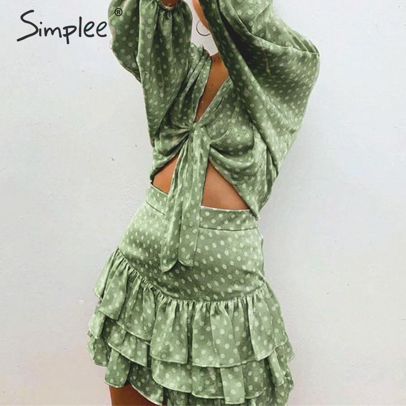 Simplee Sexy deep v-neck dot print women chiffon   blouse     shirt   Lantern sleeve bow tie female casual top   shirt   Summer beach   blouse