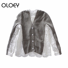 5daf8593db580b OLOEY 2018 New Pattern Hot Sale V-neck Long Sleeve Patchwork Color Single  Breasted Lace