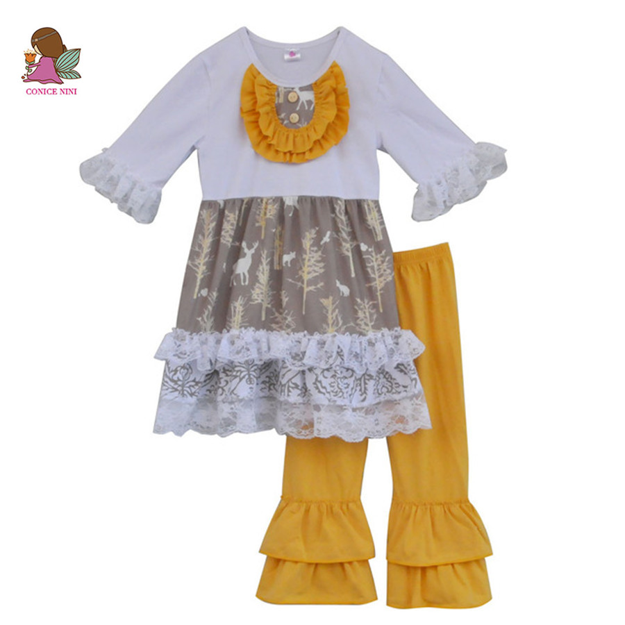 Special Design Fall Winter Girls Boutique Outfits Lace Ruffle Top Cotton Pant Wholesale Children Baby Clothes