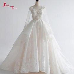 Jark Tozr Свадебные платья 2019 бальное платье цвета слоновой кости свадебное платье с вуалью молния сзади Элегантный Vestido de Noiva Плюс размеры Abito