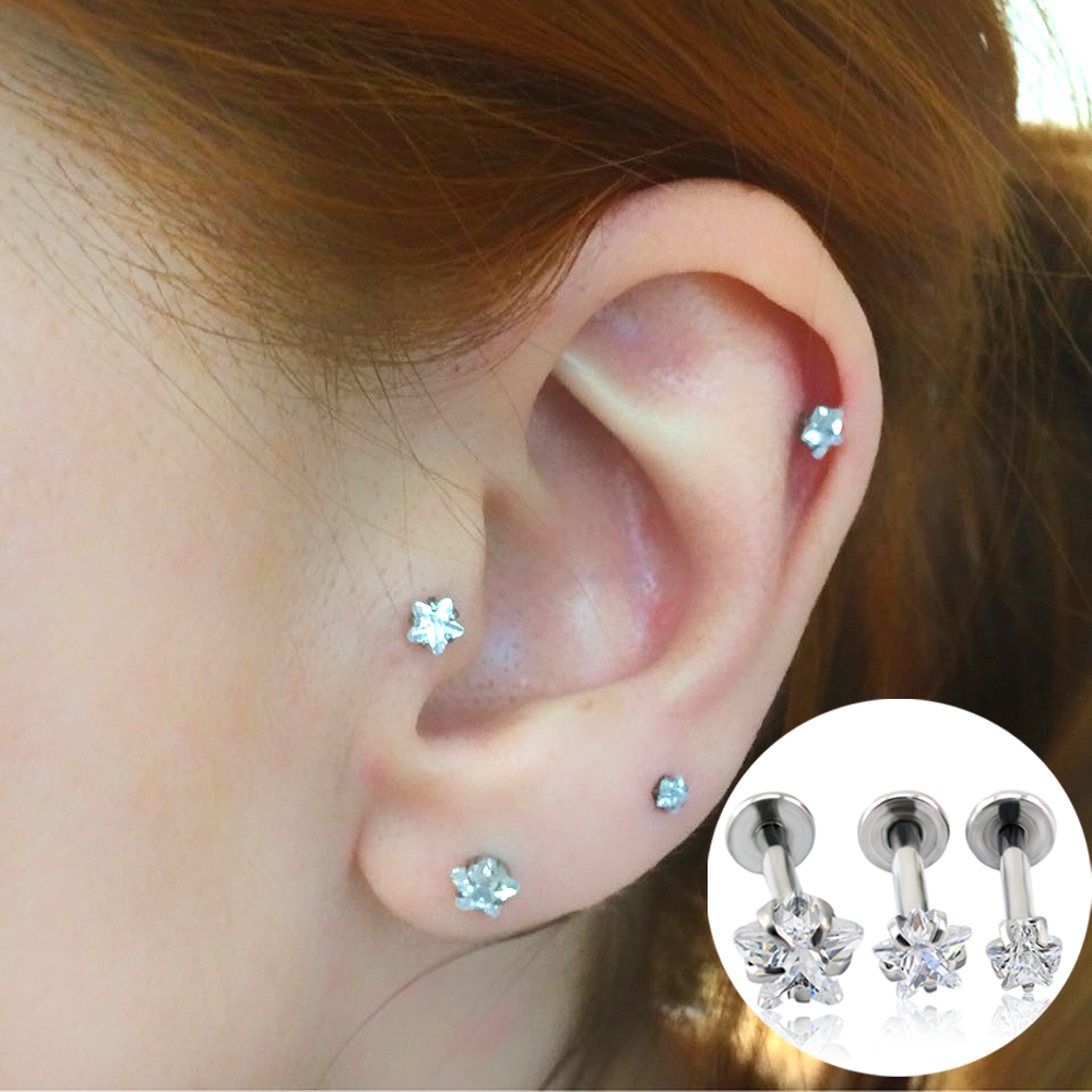 Mode Smycken Öra Stud Star Zircon Prong Set Top Internt Gängad Lip Piercing Daith Brusk Helix Piercing Stud Örhängen