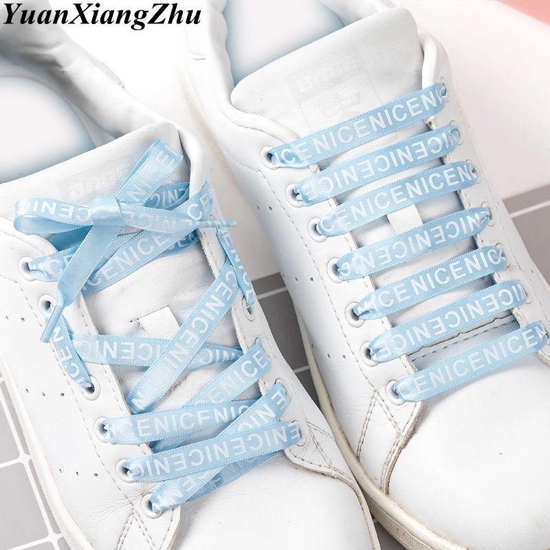 1 Pair Letter Printed Shoelaces 1CM Width Flat Silk Ribbon Shoelace Canvas Shoes Lace Sneakers Shoelaces 9 Colors