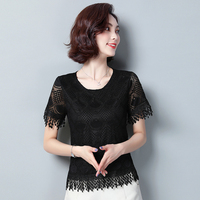 Lace shirts women Short sleeve summer 2019 new Hollow Out black Short Tops Sexy temperament Lace O Neck shirts women's