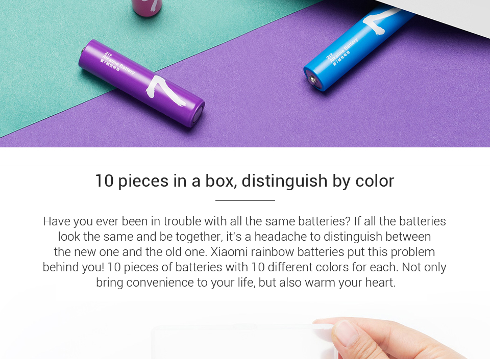 10PCSLot XIAOMI ZMI ZI7 AAA Alkaline Battery Rainbow Disposable Batteries Kit for Camera Mouse Keyboard Controller Toys xiom H0 (6)