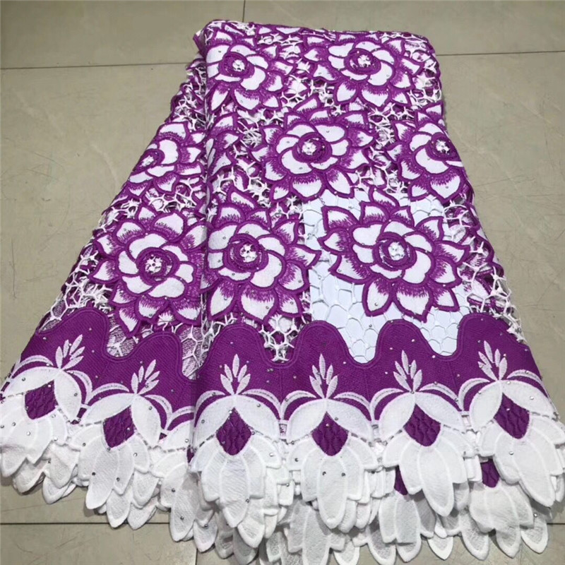 Latest High quality African Guipure Cord Lace With Stones Fabric 2019 Purple Nigerian Milk Silk Lace