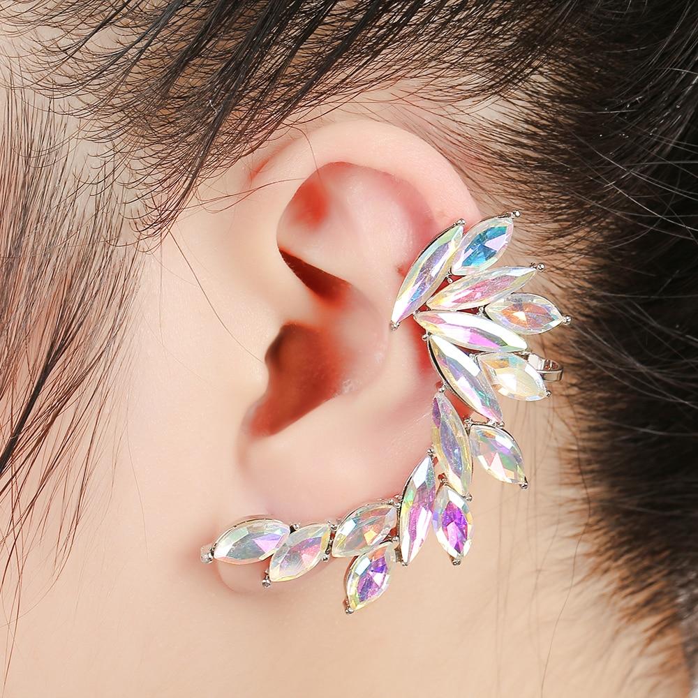 Fashion Rainbow Crystal Wing Ear Cuff Rhinestones Women Piercing Jewelry Earcuffs Party Gifts Full Zircon Clip Earring