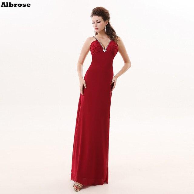 56e4930e1dd Cheap Simple Wine Red Bridesmaid Dresses Spaghetti Strap Chiffon Crystal Bridesmaid  Dress Long V Neck Chic vestidos de festa