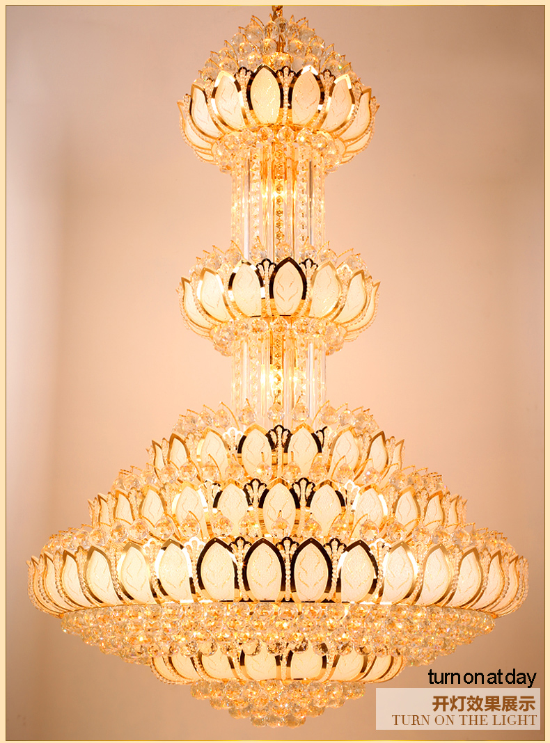 Lotus Crystal Ljuskrona Ljusarmatur LED Guld Crystal Ljuskronor - Inomhusbelysning - Foto 5