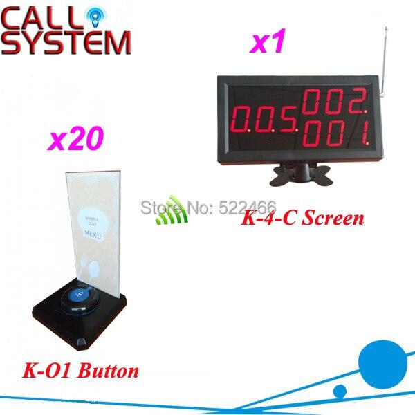 Offre spéciale système d'appel bouton pour les services de restaurant avec 20 boutons d'appel et 1 écran de numéro, livraison gratuite