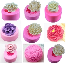 3D Silicone Molds Flower Clay Soap Chocolate Mould Tray Homemade Making DIY Candle Mold Rose Peony Lotus
