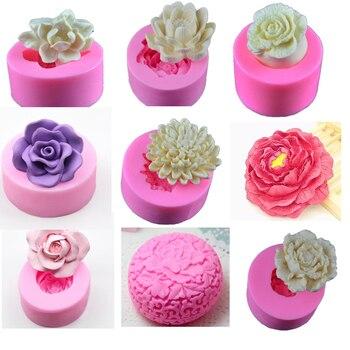 3D Silikon Kalıpları Çiçek Kil Sabun Kalıpları Silikon Çikolata Kalıp Tepsisi Ev Yapımı DIY Çiçek Mum Kalıp Gül Şakayık Lotus