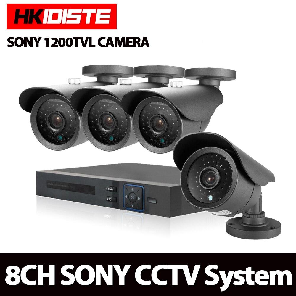 8CH AHD DVR 1200TVL 720 P HD système de caméra de sécurité extérieure 8 canaux CCTV DVR Kit Sony CCD caméra ensemble vision nocturne