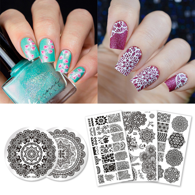 BORN PRETTY 5Pcs Nail Stamping Template Set Mandala Round Rectangle ...