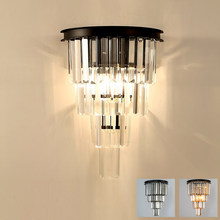 American country iron glass crystal wall light lamp LED retro classic clear amber smokey grey glass crystal wall lamp light LED