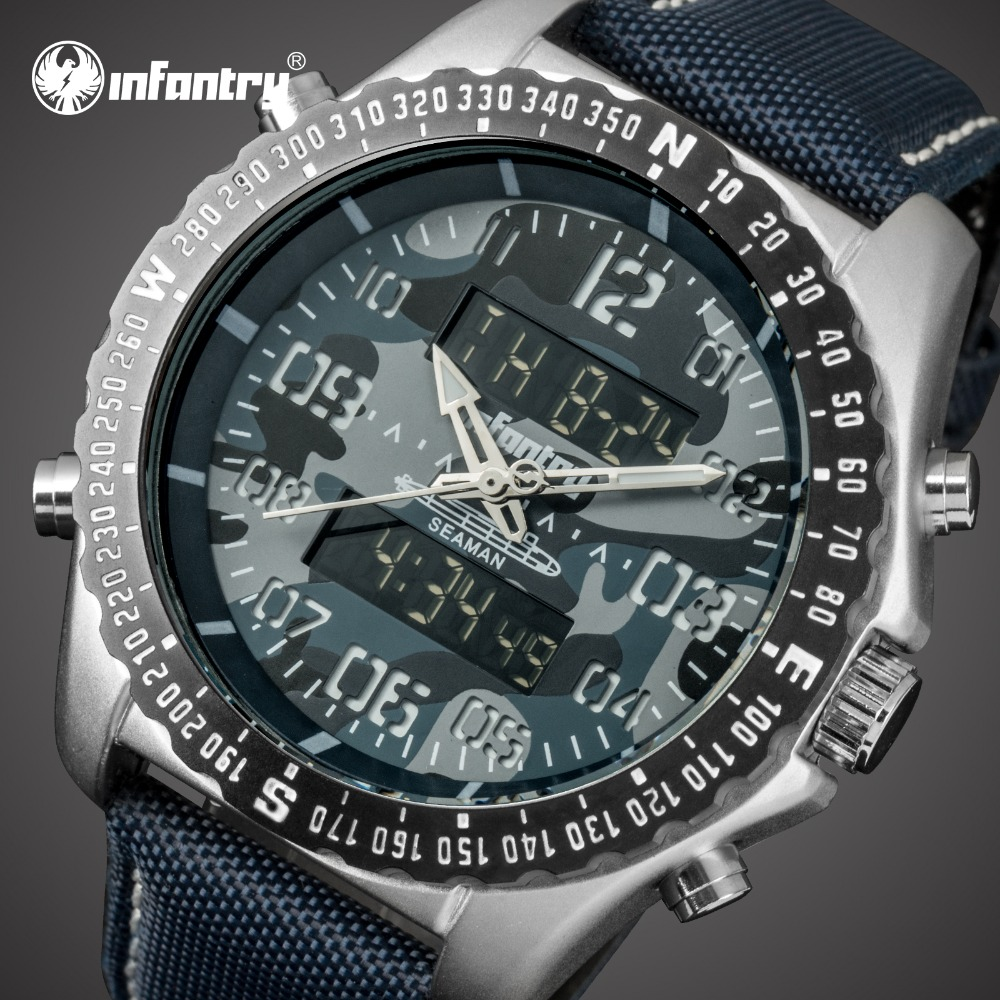 цена на INFANTRY Mens Watches Top Brand Luxury Analog Digital Military Watch Men Tactical Army Big Watch for Men Nylon Relogio Masculino