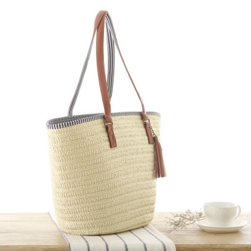 SUDS 2020 Summer Style Beach Bag Women Straw Tassel Shoulder Bag Brand Designer Handbags High Quality Ladies Casual Travel Bags 1