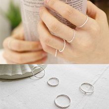 Quality 100% Real Pure 925 Sterling Silver Ring Fashion Simple Smooth Fine Ring Thin Little finger Ring For Women Men Jewelry(China)