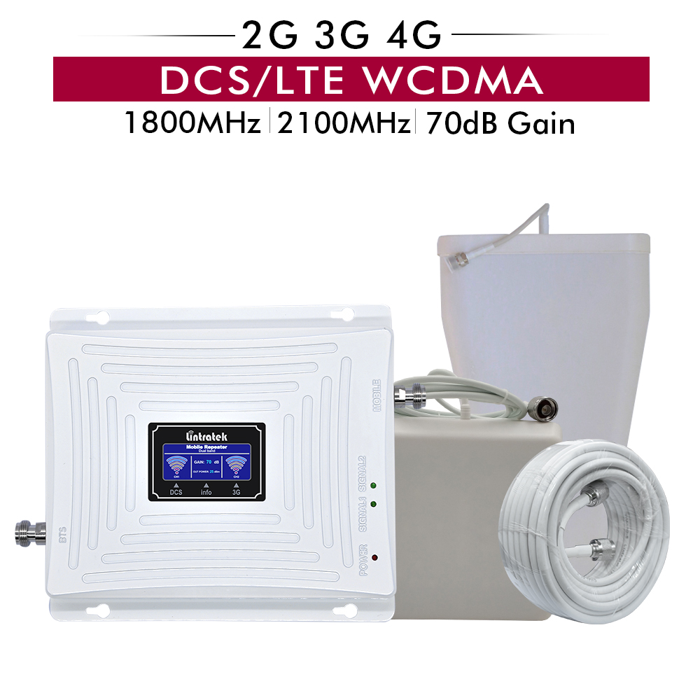70dB Gain 20dBm Dual Band 4g DCS/LTE 1800 Band 3 + Band 1 3g WCDMA 2100 mhz Handy Signal Cellular Booster Repeater vollen satz