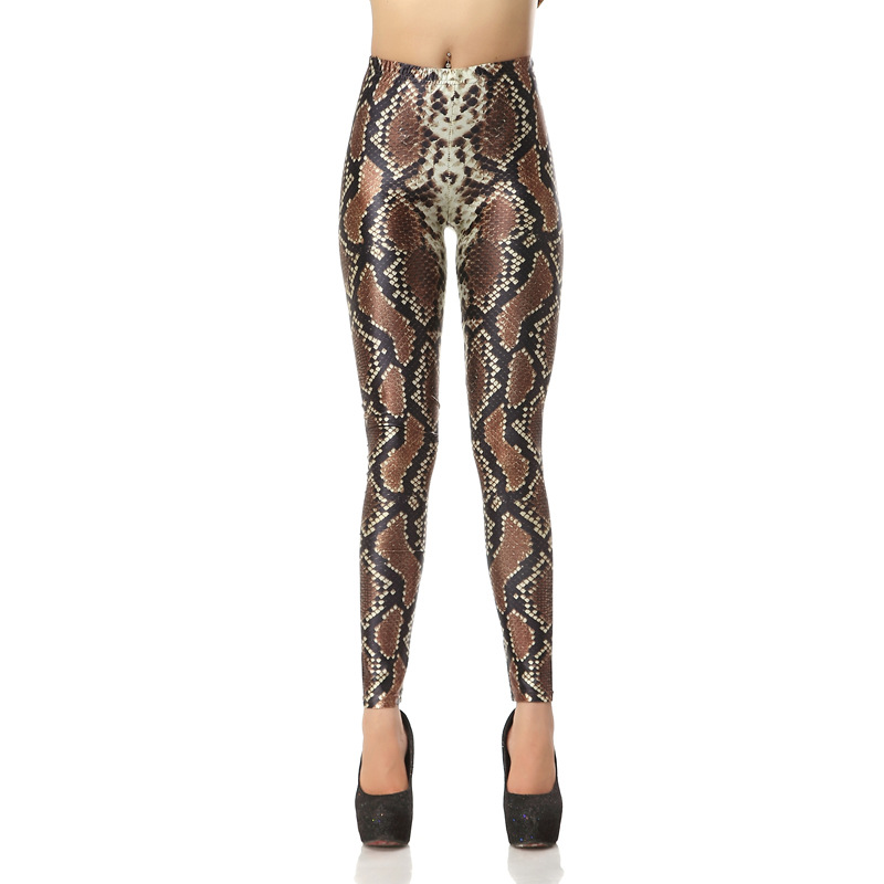 Snake Skin Leggings 3D Print Women Sexy Slim Fitness Leggings High Waist Elastic Causal Leggings Plus Size Leggins Mujer