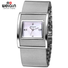 WEIQIN Silver Women Watches Luxury High Quality Water Resistant Montre Stainless Steel Dress Woman Wrist Watches orologio donna